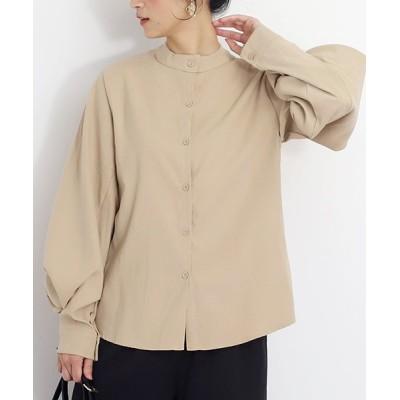 (Amulet/アミュレット)バルーンスリーブクルーネックシャツ 長袖 無地 きれいめ 大人 大きいサイズ レディース/レディース ベージュ