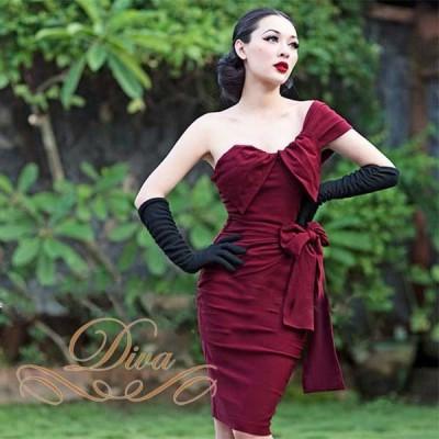 ドレス/結婚式/二次会/パーティードレス/ドレープ/ミディアムタイトワンピース/大きいサイズ/XS/S/M/L/ワインレッド