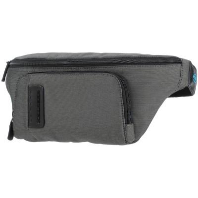 PIQUADRO バックパック&ヒップバッグ グレー 紡績繊維 / 革 バックパック&ヒップバッグ