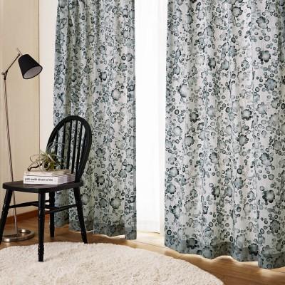 【99サイズ】ナチュラル素材の水彩プリントカーテン