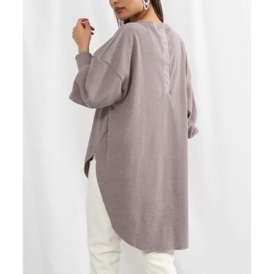 tシャツ Tシャツ バックボタンデザインワッフルロングプルオーバー