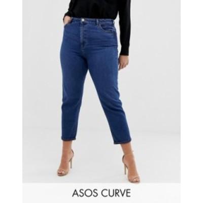 エイソス レディース デニムパンツ ボトムス ASOS DESIGN Curve recycled high rise farleigh 'slim' mom jeans in dark wash Dark wash