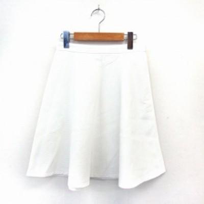 【中古】ジャスグリッティー JUSGLITTY スカート フレア サイドジップ シンプル 膝丈 1 ホワイト /ST43 レディース