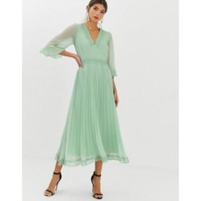 エイソス レディース ワンピース トップス ASOS DESIGN pleated midi dress with lace inserts Sage green
