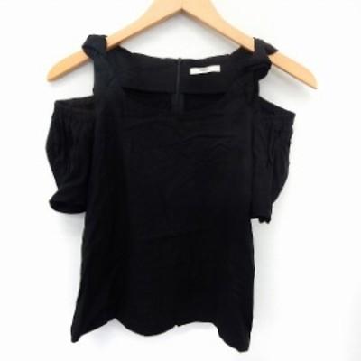【中古】ミスティック mystic カットソー Tシャツ オフショルダー 半袖 バックジップ シンプル F ブラック /ST34