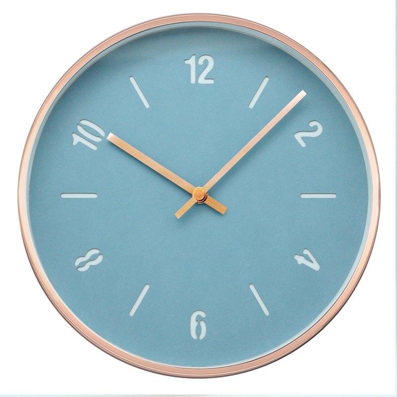 Modern- 蒂芙尼藍皮革玫瑰金跳色靜音時鐘 掛鐘