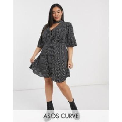 エイソス レディース ワンピース トップス ASOS DESIGN Curve high neck mini dress with flutter sleeve in mono spot Mono spot