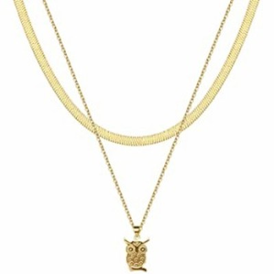 YUESUO Choker Necklaces 14K Gold Plated Flat Snake Paperclip Chain Layered Pendant Necklace for Women (2 Layer - 5MM Snake Chain