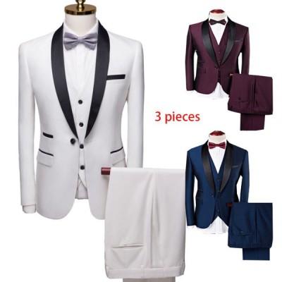 スリーピースメンズスーツセットアップ豪華ビジネススーツ紳士服結婚式二次会パーティーフォマールタキシー