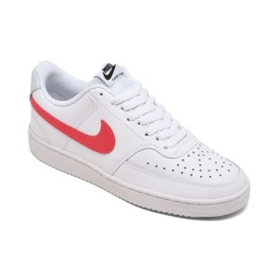 ナイキ レディース スニーカー シューズ Women's Nike Court Vision Low Casual Sneakers from Finish Line White, Bright Crimson