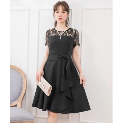 【ドレス スター】 レーススリーブサイドドレープドレス レディース ブラック XXXLサイズ DRESS STAR