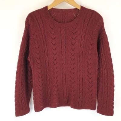 古着 無地セーター アラン編み 薄手 透かし編み ワイン系 レディースS 中古 n013857