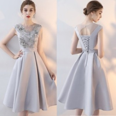 結婚式 ドレス パーティードレス お呼ばれ ワンピース 二次会 ドレス ノースリーブ Aライン 花柄 ボタニカル 刺繍