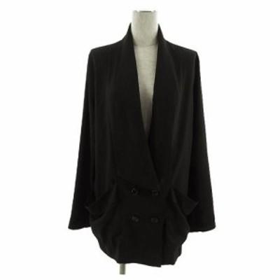 【中古】セシルマクビー CECIL McBEE ジャケット 長袖 ダブル 薄手 ブラック 黒 M レディース