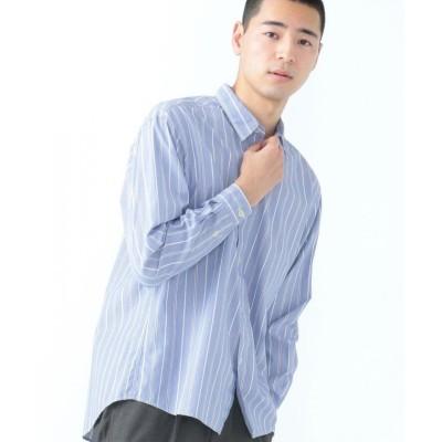 (SHARE PARK/シェアパーク)ストライプレギュラーカラーシャツ/メンズ ネイビー系1