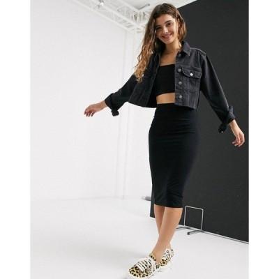 エイソス レディース スカート ボトムス ASOS DESIGN jersey pencil midi skirt in black Black