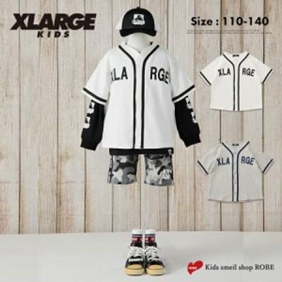 シャツ キッズ 男の子 子供 XLARGE KIDS エクストララージキッズ 半袖 110cm 120cm 130cm 140cm ベースボールシャツ 小学生 シロ グレー