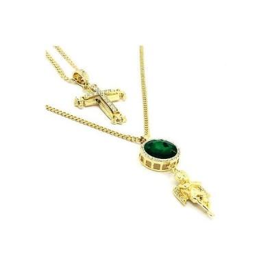 チェーン ネックレス アメリカン ジュエリー ヒップホップ 14k Gold Plated Cz Sharp Sides Cross Pendant & Iced Green Ruby w Angel Necklace