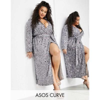エイソス ASOS EDITION レディース ワンピース ラップドレス ミドル丈 ワンピース・ドレス Curve Wrap Midi Dress In Disc Sequin In Silver シルバー