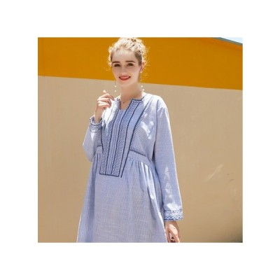 ストライプ ブルー マタニティドレス フォーマル パーティードレス お呼ばれドレス kh-1125