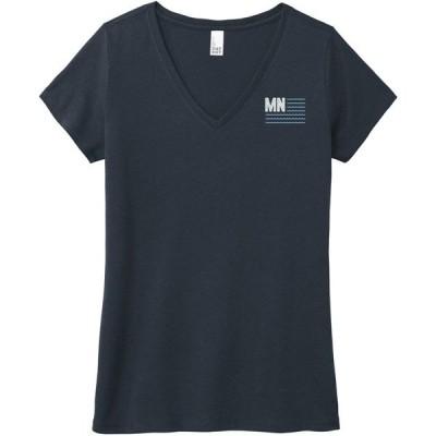 アップノーストレーディングカンパニー シャツ トップス レディース Up North Trading Company Women's Lake Flag Short Sleeve T-Shirt Navy