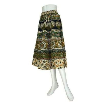 インド製 膝下丈スカート アラベスク プリント 綿 アジアン エスニック雑貨  FU-SKT74