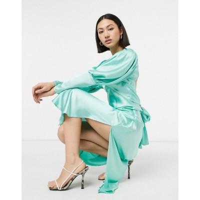 エイソス ASOS DESIGN レディース ワンピース ミドル丈 ワンピース・ドレス satin puff sleeve bias midi dress in mint green ミントグリーン
