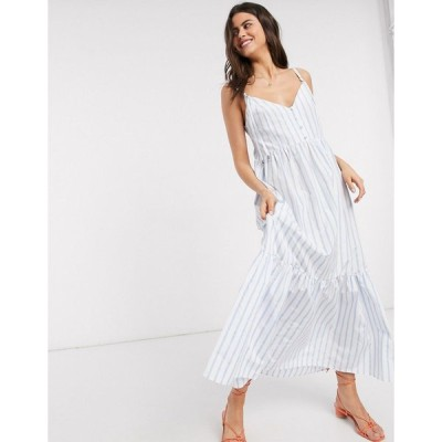 エイソス マキシドレス レディース ASOS DESIGN button through tiered cotton poplin maxi dress in stripe エイソス ASOS マルチカラー