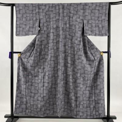 小紋 美品 秀品 幾何学 グレー 単衣 身丈157cm 裄丈63cm S 正絹 中古