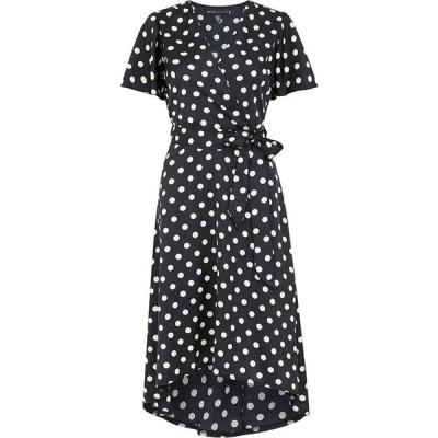メラ ロンドン Mela London レディース ワンピース ラップドレス ワンピース・ドレス Polka Dot Wrap Front High Low Dress Black