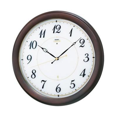 HS547B セイコーエンブレム電波掛け時計(木枠)流れるようなスイープセコンド 暗くなると止まるおやすみ秒針
