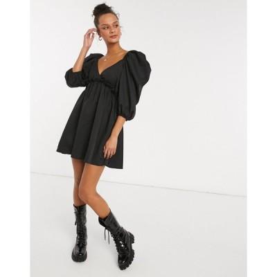 インザスタイル ミディドレス レディース In The Style x Lorna Luxe mini smock dress with exaggerated sleeves in black エイソス ASOS sale ブラック 黒