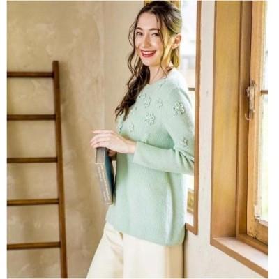 セーター ギャラリービスコンティ フラワーモチーフビジュー使いデザインニット M L グリーン ビスコンティ3 おとなかわいい服