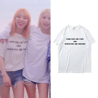 大人気!MAMAMOO  Moon同じデザイン半袖Tシャツ 韓国ファッションTシャツ  男女兼用  トップス 韓国