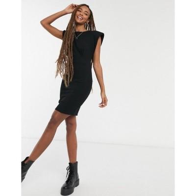 エイソス レディース ワンピース トップス ASOS DESIGN mini dress with shoulder pads and seam detail in black Black