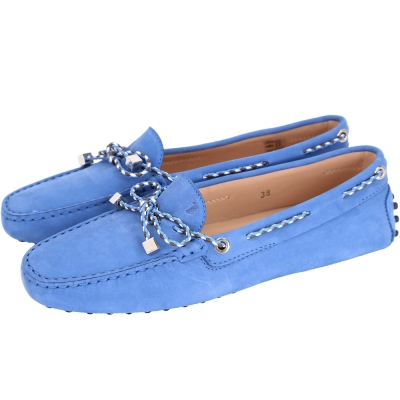 TOD S Gommino Driving 撞色編織綁帶豆豆休閒鞋(藍色)