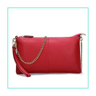 【新品】SEALINF Women's Cowhide Leather Clutch Handbag Small Shoulder Bag Purse (red chain)(並行輸入品)