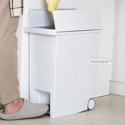 ゴミ箱 キッチン ペダル スリム 20リットル キャスター付き 洗面所 トイレ おしゃれ 大容量 蓋付き 資源ゴミ ホワイトごみ箱