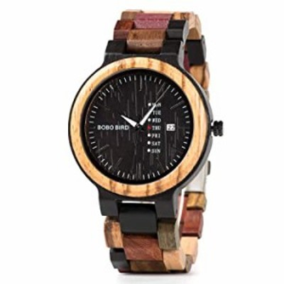 Colorful Wooden Watches for Men Week Date Display Casual Handmade Quartz Wrist Watches with Luminous Pointer (Date Display for M