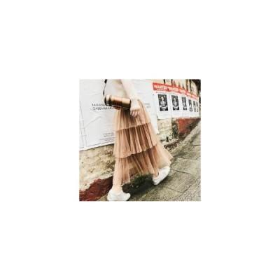 3段チュールスカート フェミニン&ガーリー系 ロング丈 無地 ゆったり ウエストゴム 春夏 お出かけや女子会に SK-0062
