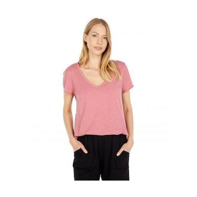 Mod-o-doc モッドオードック レディース 女性用 ファッション Tシャツ Lightweight Slub Jersey Short Sleeve Swing V-Neck Tee - Enamored