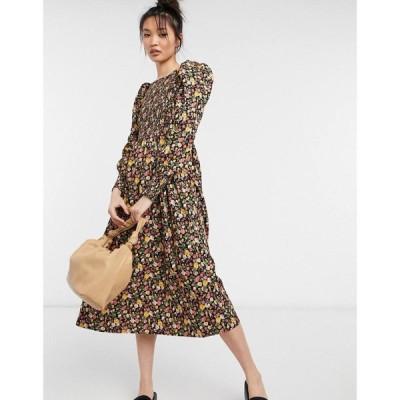 ワイ エー エス Y.A.S レディース ワンピース ミドル丈 ワンピース・ドレス shirred midi dress with puff sleeves in dark floral マルチカラー