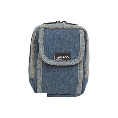 あすつく対応 「直送」 トラスコ中山 [TDCH101] TRUSCO デニム携帯電話用ケース 2ポケット ブルー ポイント5倍