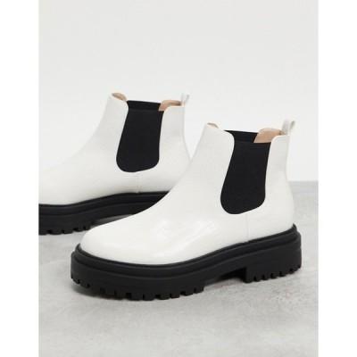 レイド レディース ブーツ・レインブーツ シューズ RAID Ronnie chunky chelsea boots in white