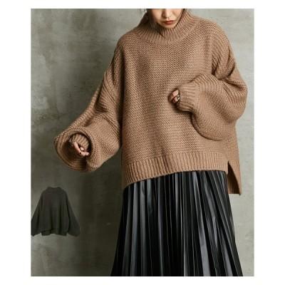 セーター ニット レディース ざっくり編み プチハイ 袖ボリューム ゆるっと 冬 M ニッセン nissen
