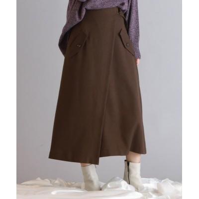 【ドロワット ロートレアモン】 ベルトデザインポケットトレンチスカート レディース ブラウン M Droite Lautreamont