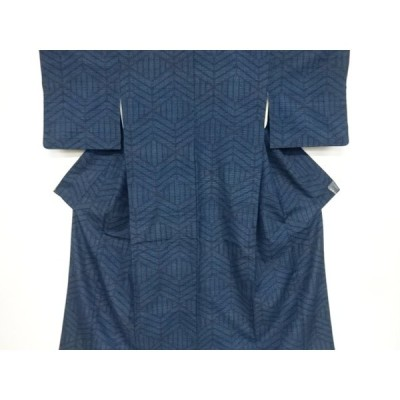 宗sou 幾何学模様織り出し手織り節紬着物【リサイクル】【着】