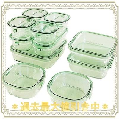 iwaki(イワキ) 耐熱ガラス 保存容器 グリーン 11個セット パック&レンジ PS-PRN-11G