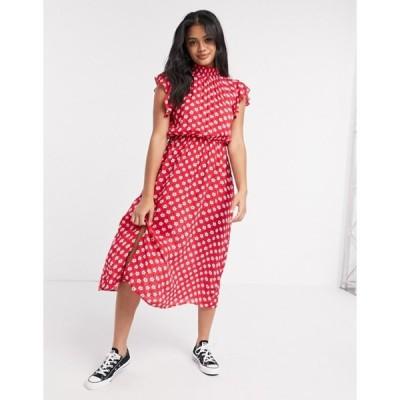 ウェンズデーガール レディース ワンピース トップス Wednesday's Girl midi dress with frill sleeves in floral polka dot