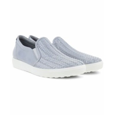エコー レディース スニーカー シューズ Women's Soft 7 Woven Slip-On Sneakers Silver Grey Metallic